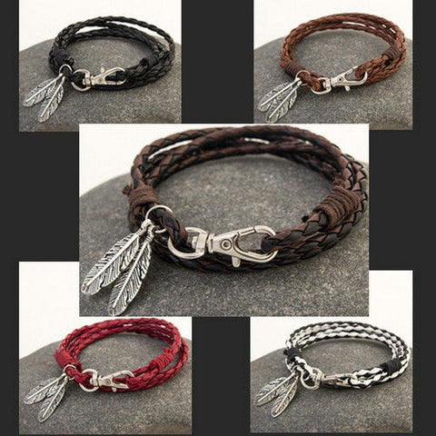 Bracelet - Braided Feather Bracelet