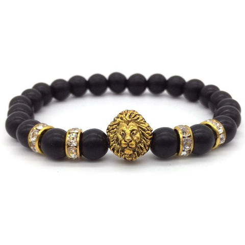 Bracelet - Lion Head Turquoise Beads Bracelet For Men