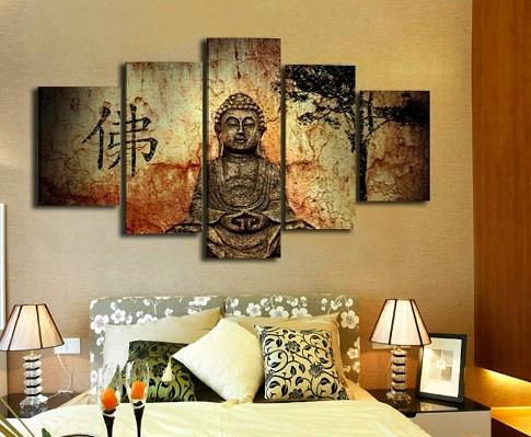 Buddha Abstract 5 Piece Canvas - Buddha 5 Piece Canvas Limited Edition