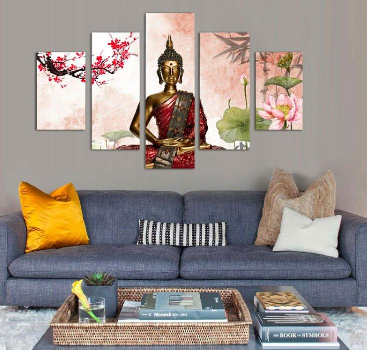 Buddha Abstract 5 Piece Canvas - Buddha Abstract 5 Piece Canvas Limited Edition