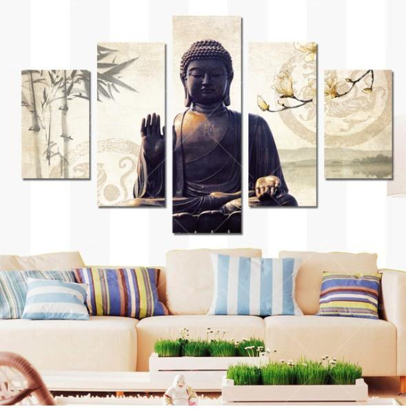 Buddha Statue 5 Piece Canvas Limited Edition - Buddha Statue 5 Piece Canvas Limited Edition