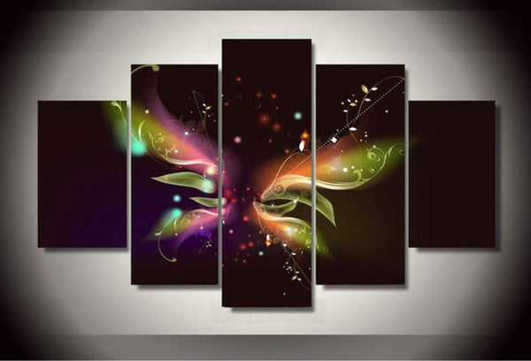 Butterfly 5 Piece Canvas Limited Edition - Butterfly Abstract 5 Piece Canvas Limited Edition