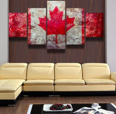 Canadian Flag 5 Piece Canvas Limited Edition - Canadian Pride 5 Piece Canvas Limited Edition
