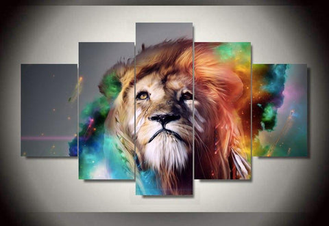 Colored Lion Abstract - Colored Lion Abstract 5 Piece Canvas Limited Edition
