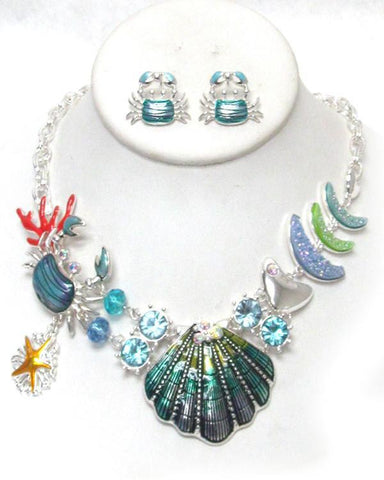 Crab And Seashell Sealife Theme Necklace Set - Crab And Seashell Sealife Theme Necklace Set
