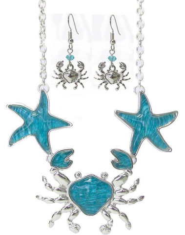 Crab Starfish Textured Puffy Pendant Link Necklace Set - Crab Starfish Textured Puffy Pendant Link Necklace Set