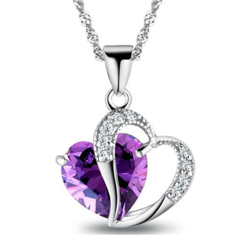 Crystal Amethyst Heart Necklace