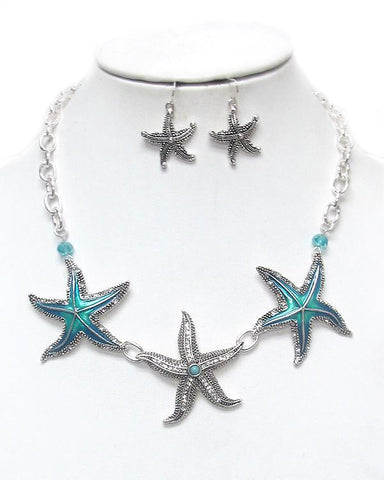 Crystal And Epoxy Starfish Link Necklace Set - Crystal And Epoxy Starfish Link Necklace Set