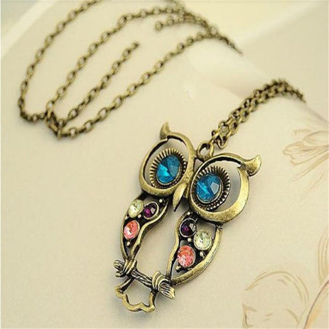 Crystal Big Blue Eyed Owl Necklace