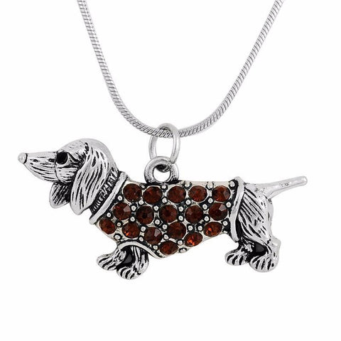 Crystal Dachshund Necklace