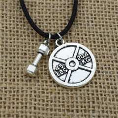 Dumbbell Weight Plate Necklace