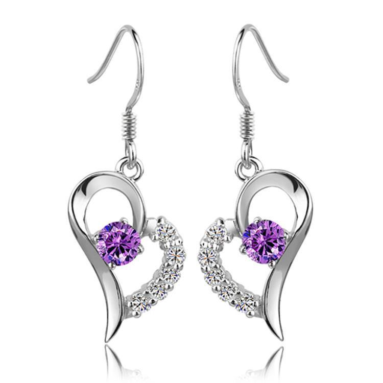 Earrings - Amethyst Rhinestone Crystal Heart Drop Earrings