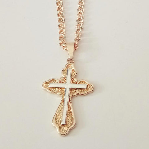 Elegant Cross Necklace - Elegant Rose Gold Cross Necklace