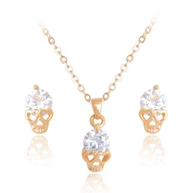 Elegant Crystal Jewelry Set Necklace + Earrings - Skull Earring And Necklace Set