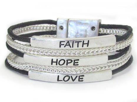 Faith Hope Love Multi Chain Magnetic Bracelet - Faith Hope Love Multi Chain Magnetic Bracelet
