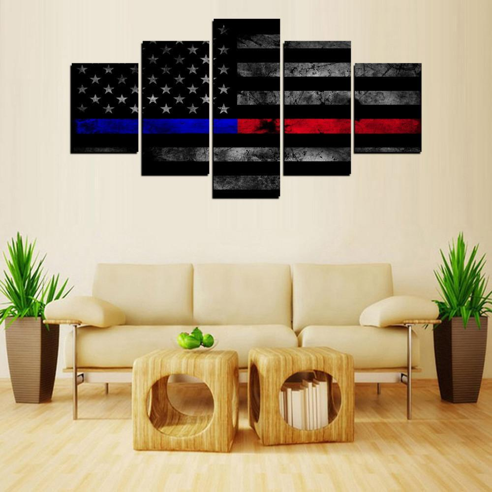 Firefighter 5 Piece Canvas Limited Edition - Blue And Red Thin Line 5 Piece Canvas