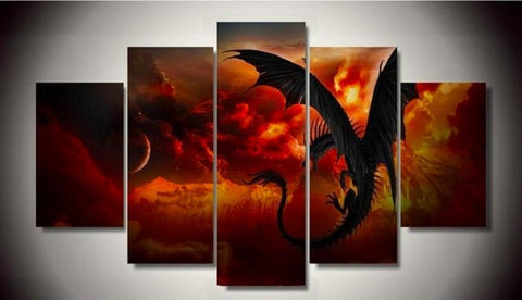 Game Of Thrones Night Watch 5 Piece Canvas Limited Edition - Drogon 5 Piece Canvas Limited Edition