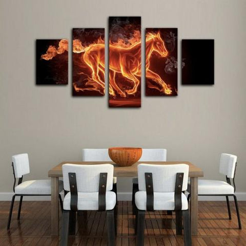 Horse On Fire 5 Piece Canvas Limited Edition - Horse On Fire 5 Piece Canvas Limited Edition