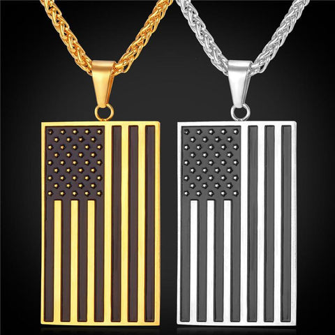 Hot US National Flag Pendant Necklace Gold Plated