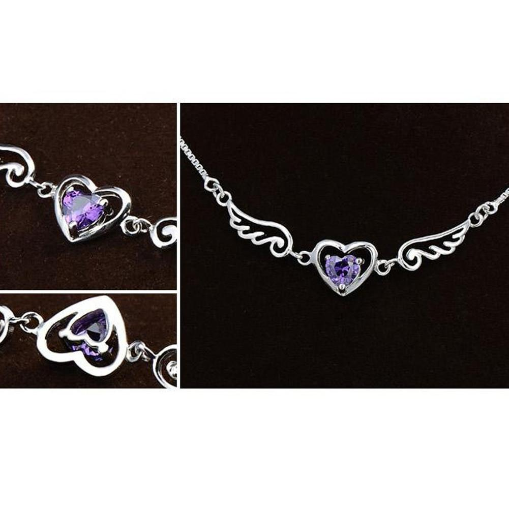 Necklace - Amethyst Angel Wing Heart Necklace