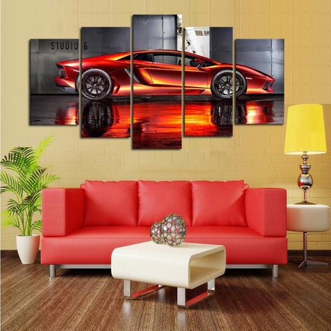 Orange Lamborghini 5 Piece Canvas Limited Edition - Orange Lamborghini Aventador 5 Piece Canvas Limited Edition