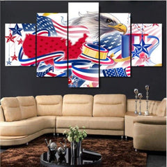 Patriotic Eagle Flag - Patriotic Eagle Flag 5 Piece Canvas Limited Edition