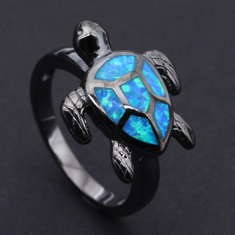 Ring - Blue Fire Opal Turtle Ring