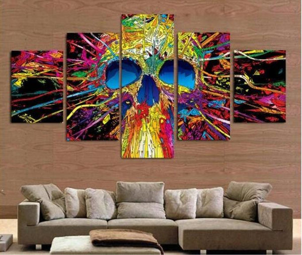 Skeleton - Colorful Skull 5 Piece Canvas Limited Edition