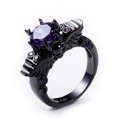 Skull Ring - Black Amethyst Skull Ring