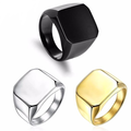 Big Width Signet Square Ring