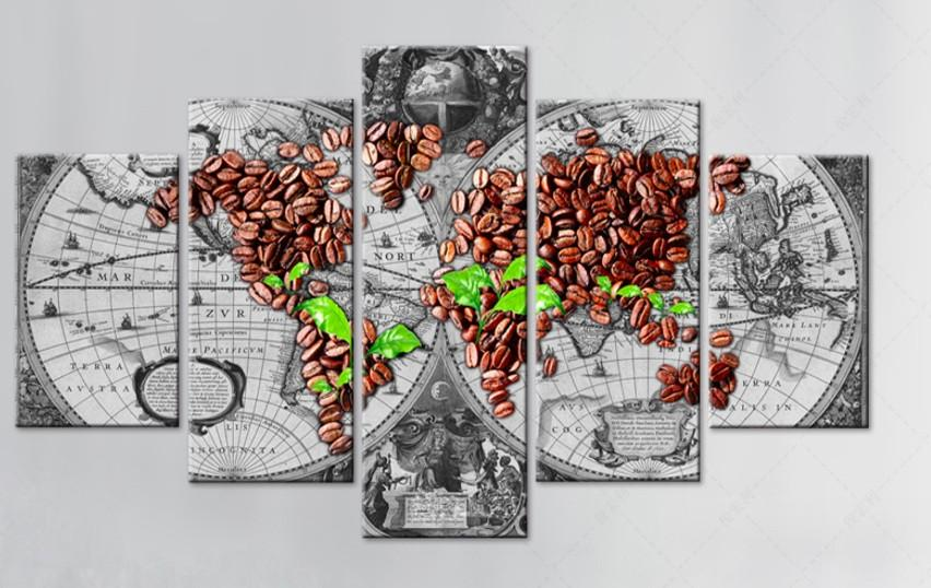 Store:meili66 - Coffee Beans World Map 5 Piece Canvas