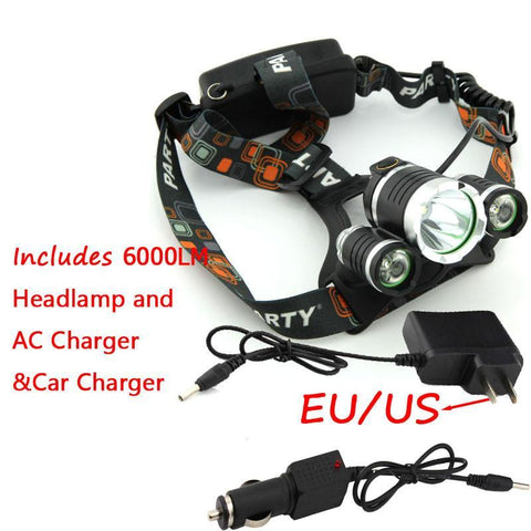 ULTRA Bright LED Rechargeable Headlamp - 6000 Lumen LED Tactical Headlamp