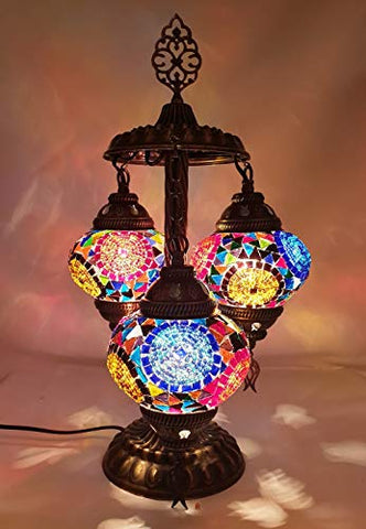 Stunning 3 Globe Turkish Moroccan Bohemian Table Desk Bedside Night Lamp Light Lampshade with North American Plug & Socket, 19 Inches