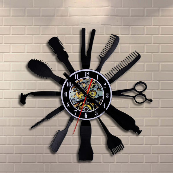 Wall Clock - Barber Vinyl Wall Clock