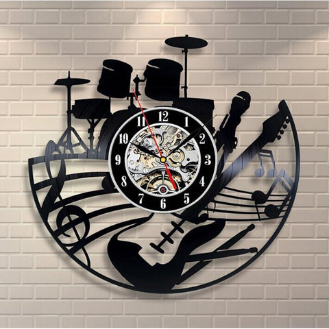 Wall Clock - Guitar And Drums Vinyl Record Wall Clock