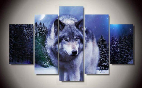 White Wolf 5 Piece Canvas Limited Edition - Gray Wolf 5 Piece Canvas Limited Edition