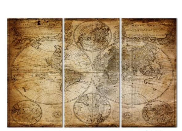 World Map 3 Piece Canvas Limited Edition - Ancient World Map 3 Piece Canvas Limited Edition