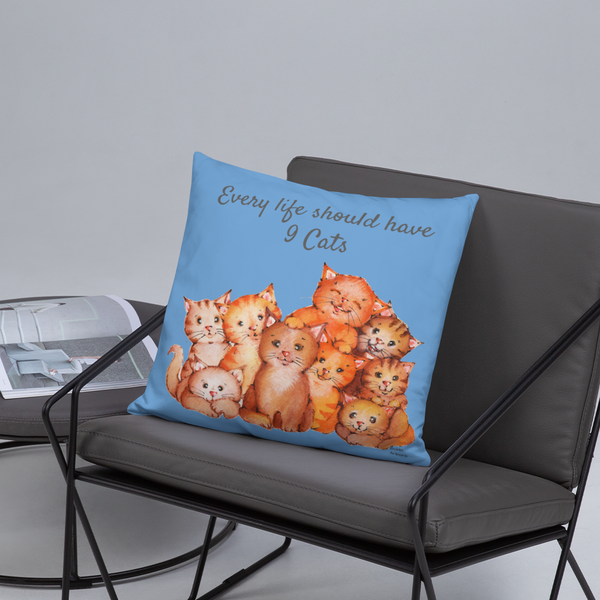 Every life should have nine cats | Basic Pillow | Cat Cottage Design