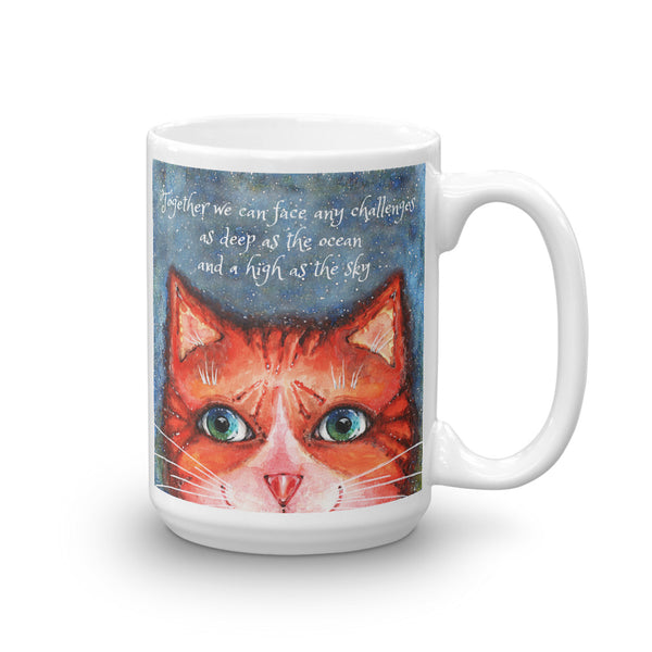 Cat with Inspirational Quote Mug - Gift for Cat Lovers - CatCottageDesign