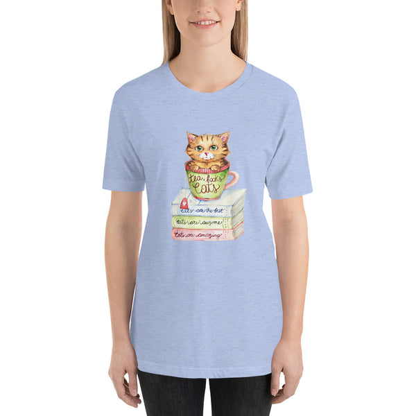 Short-Sleeve Unisex T-Shirt - Tea Books And Cats - Gift for Cat Lovers - CatCottageDesign