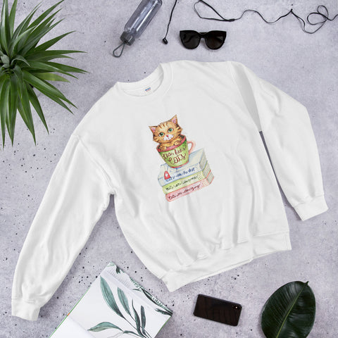 Sweatshirt - Tea, Books and Cats - Gift for Cat Lovers - CatCottageDesign