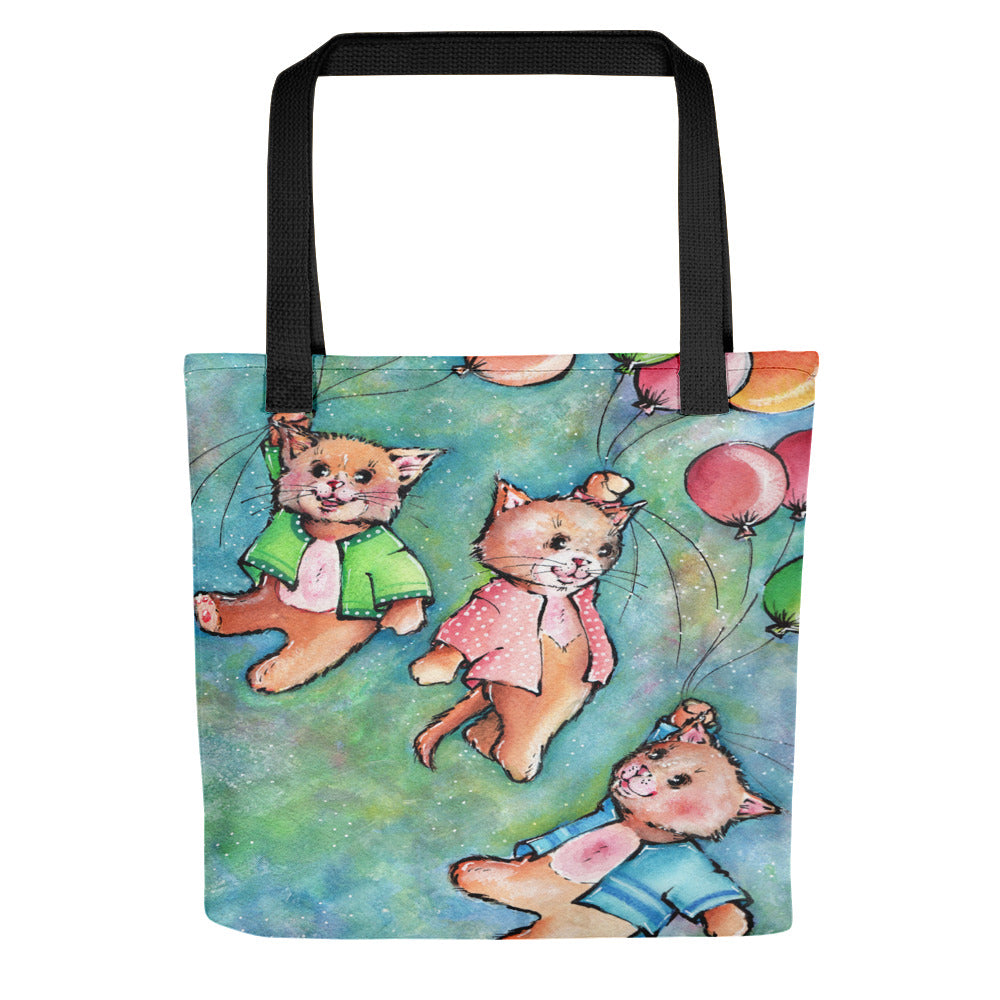 Flying Cats - Tote Bag - Gift for Cat Lovers - CatCottageDesign