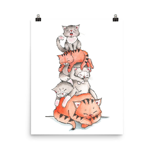 A Pile of Sleeping cats Poster - Gift for Cat Lovers - CatCottageDesign