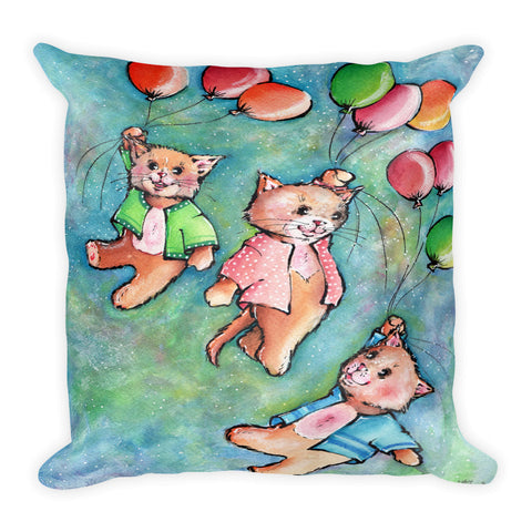 Cute Cats Flying with Colorful Balloons 2 - Gift for Cat Lovers - CatCottageDesign