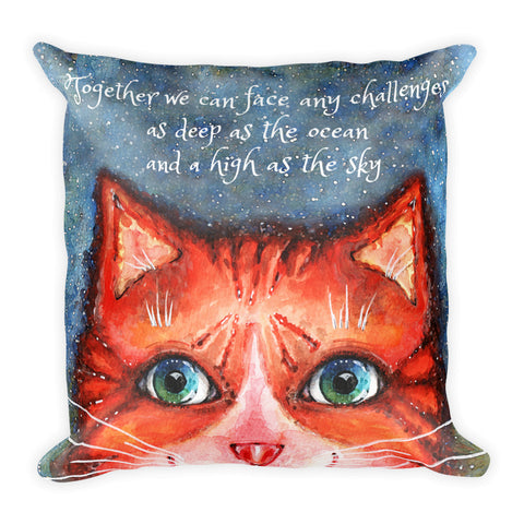 Kitty and Quote Basic Pillow - Gift for Cat Lovers - CatCottageDesign