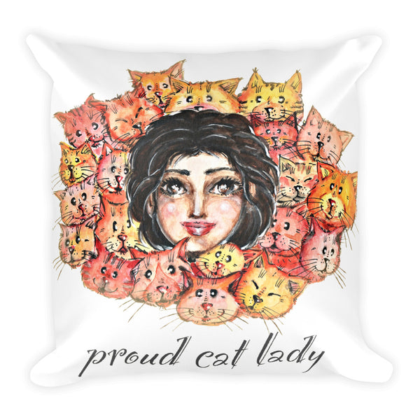 Proud Cat Lady Basic Pillow - Gift for Cat Lovers - CatCottageDesign