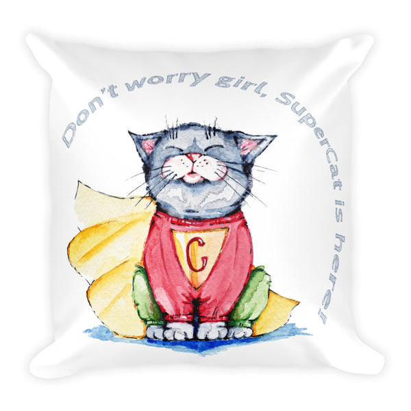 Super Cat Is Here! Basic Pillow - Gift for Cat Lovers - CatCottageDesign