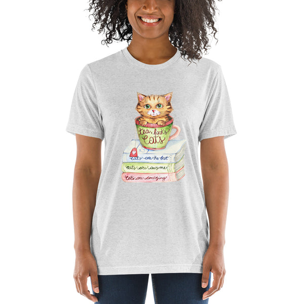 Short sleeve tri-blend t-shirt - Tea, Books and Cats - Gift for Cat Lovers - CatCottageDesign