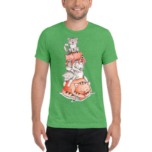Short sleeve tri-blend t-shirt - A Pile of Sleeping Cats - Gift for Cat Lovers - CatCottageDesign