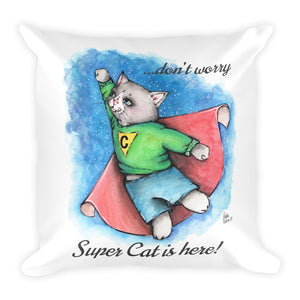 Super Cat Is Here 2! Basic Pillow - Gift for Cat Lovers - CatCottageDesign